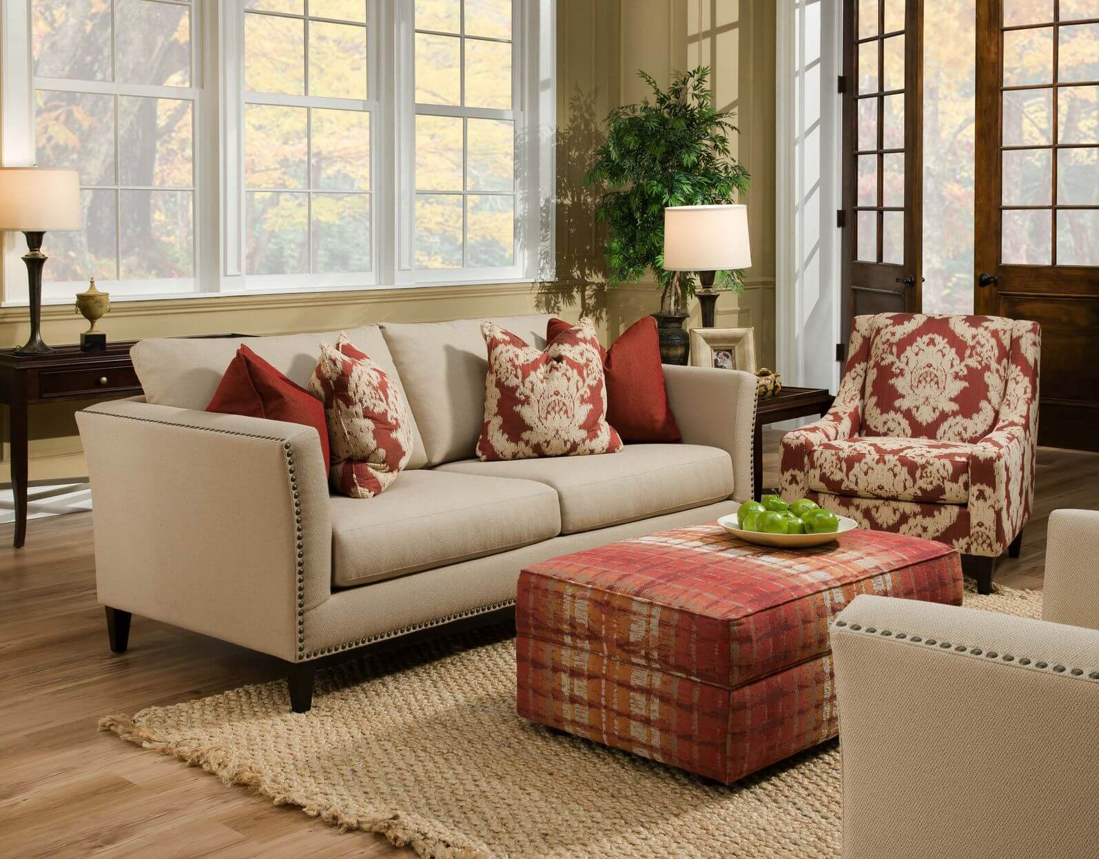 cushion ideas for light brown sofa sure fit scroll 1 piece slipcover 50 beautiful living rooms with ottoman coffee tables beige twin couches face each other over natural hardwood flooring and tan rug in this