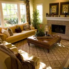 Photos Of Living Rooms With Brown Leather Furniture Small Room Settings 50 Beautiful Ottoman Coffee Tables Warm Golden Hues Throughout This Natural Hardwood Floored Pair Matching Armchairs