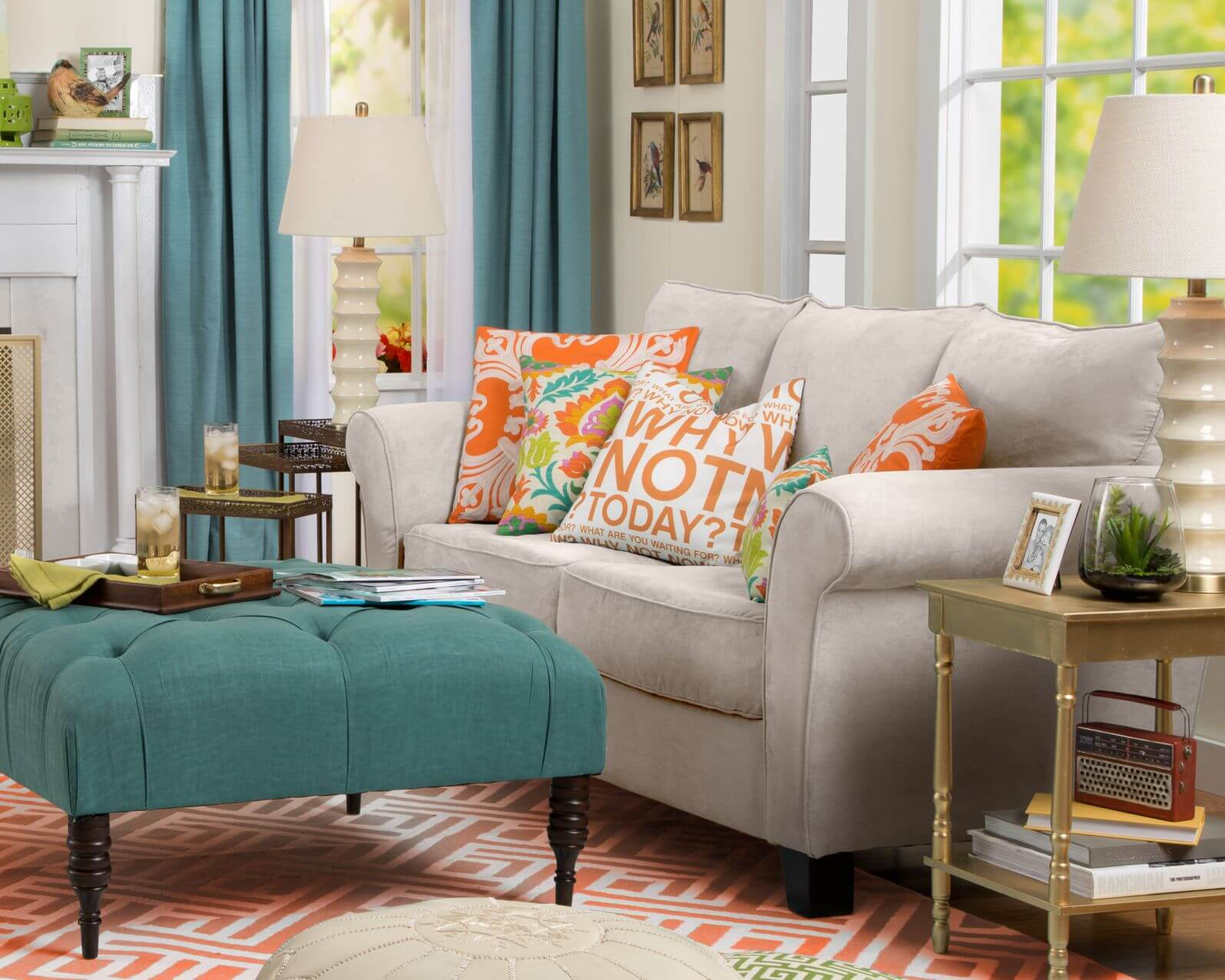 living room without coffee table ideas rustic decorating 50 beautiful rooms with ottoman tables bright contrasting color patterns throughout this featuring neutral toned sofa next to
