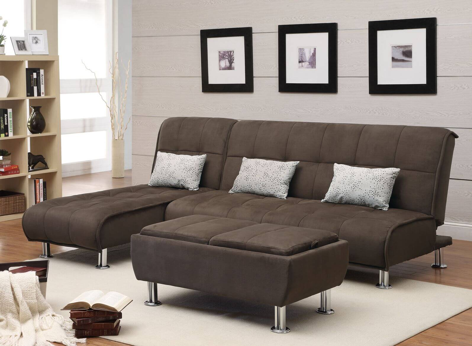 chocolate brown leather sectional sofa with 2 storage ottomans cover for 50 beautiful living rooms ottoman coffee tables ottomanlight natural tones in this room contrast chrome legged fabric couch