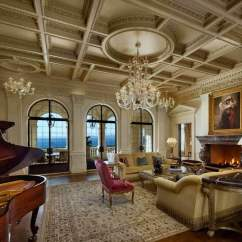 Elegant Living Rooms With Fireplaces Lighting Ideas For Room Modern 36 That Are Richly Furnished Decorated Ultra Luxurious Features Fine Detailed Ceiling Crystalline Chandeliers Hanging Over Dark Hardwood Flooring