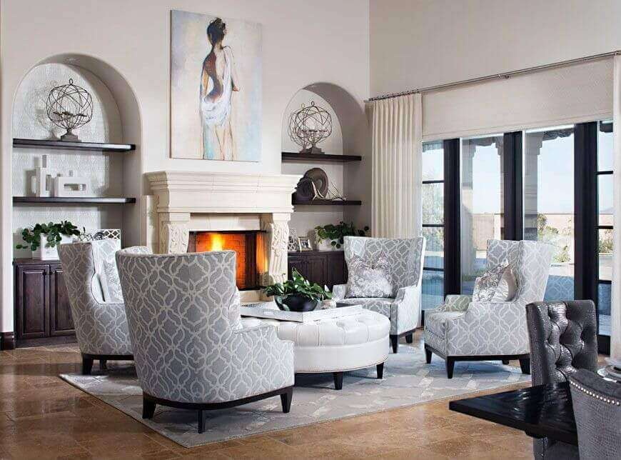 four club chairs in living room grey and blue curtains 36 elegant rooms that are richly furnished & decorated