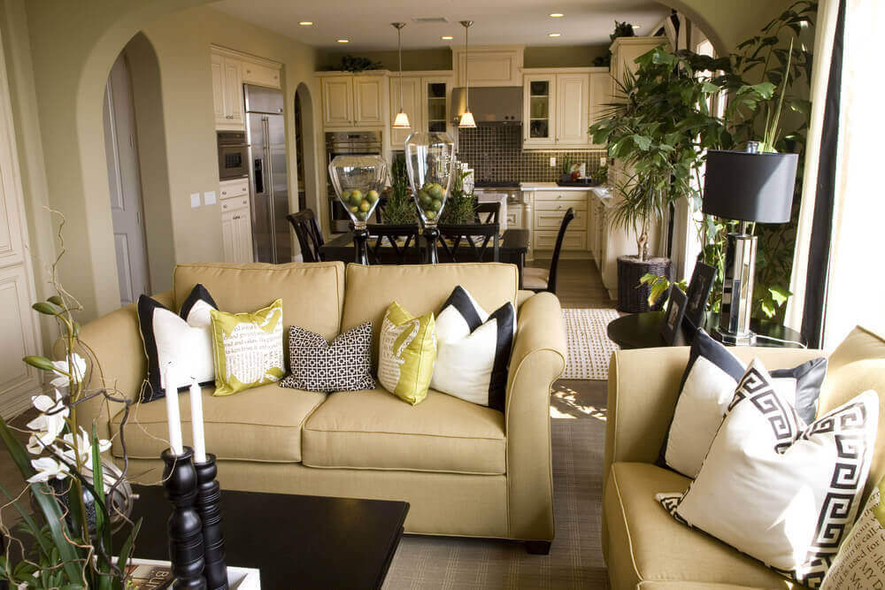 decorating ideas for living rooms with grey walls nice room 36 elegant that are richly furnished decorated this features light gold hued sofas dark wood coffee table and