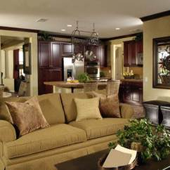 Living Room Ideas With Cherry Wood Floors Toy Storage 36 Elegant Rooms That Are Richly Furnished Decorated Lush Cabinetry Throughout The Kitchen Area In This Shared Open Space Contrast Beige