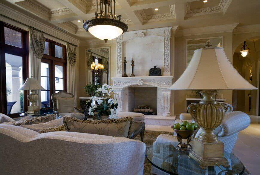 how to decorate a long living room with fireplace at the end decor leather sofas 36 elegant rooms that are richly furnished decorated here s opposite view of prior highlighting full height marble surround