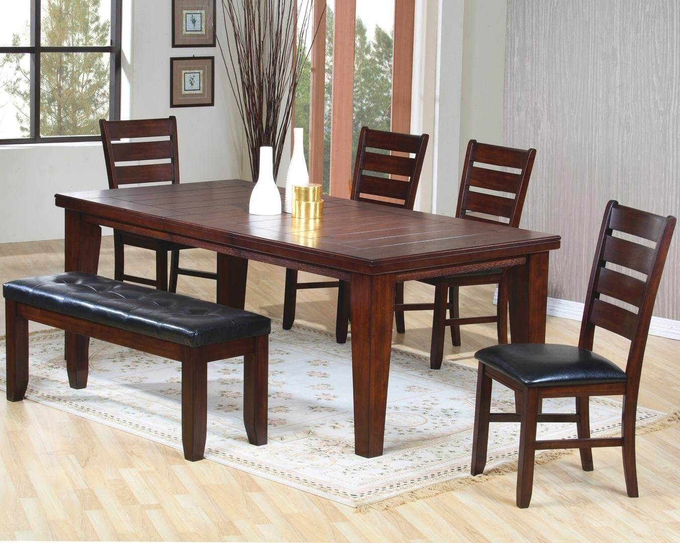 small kitchen table and chairs set rocking game chair 26 dining room sets big with bench seating 2019 solid wood six piece cushioned the finish is dark oak