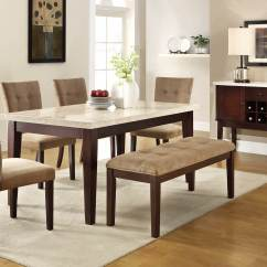Kitchen Table Set With Bench Rugs Washable 26 Dining Room Sets Big And Small Seating 2019 Here S A 6 Piece Rubberwood Faux Marble Top Tan Upholstery For