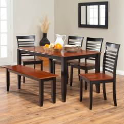 Farmhouse Table And Chairs With Bench Scoop Dining 26 Room Sets Big Small Seating 2019 Simple Two Toned Set The Seats Top Are Cherry