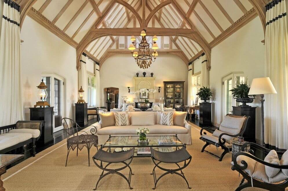 living room lighting ideas cathedral ceiling curtain designs 54 rooms with soaring 2 story ceilings delicately balanced stands light and dark furniture over sprawling beige area rug on