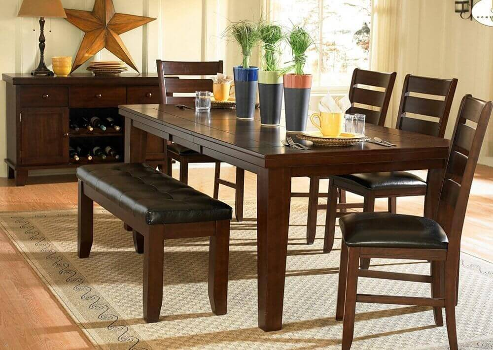 kitchen table with bench and chairs small rugs 26 dining room sets big seating 2019 a stunning dark oak finish birch veneer set cushioned