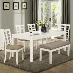 Dining Set With Bench And Chairs Woman Sitting In Chair 26 Room Sets Big Small Seating 2019 Built Solid Wood Mdf Board This White Grey