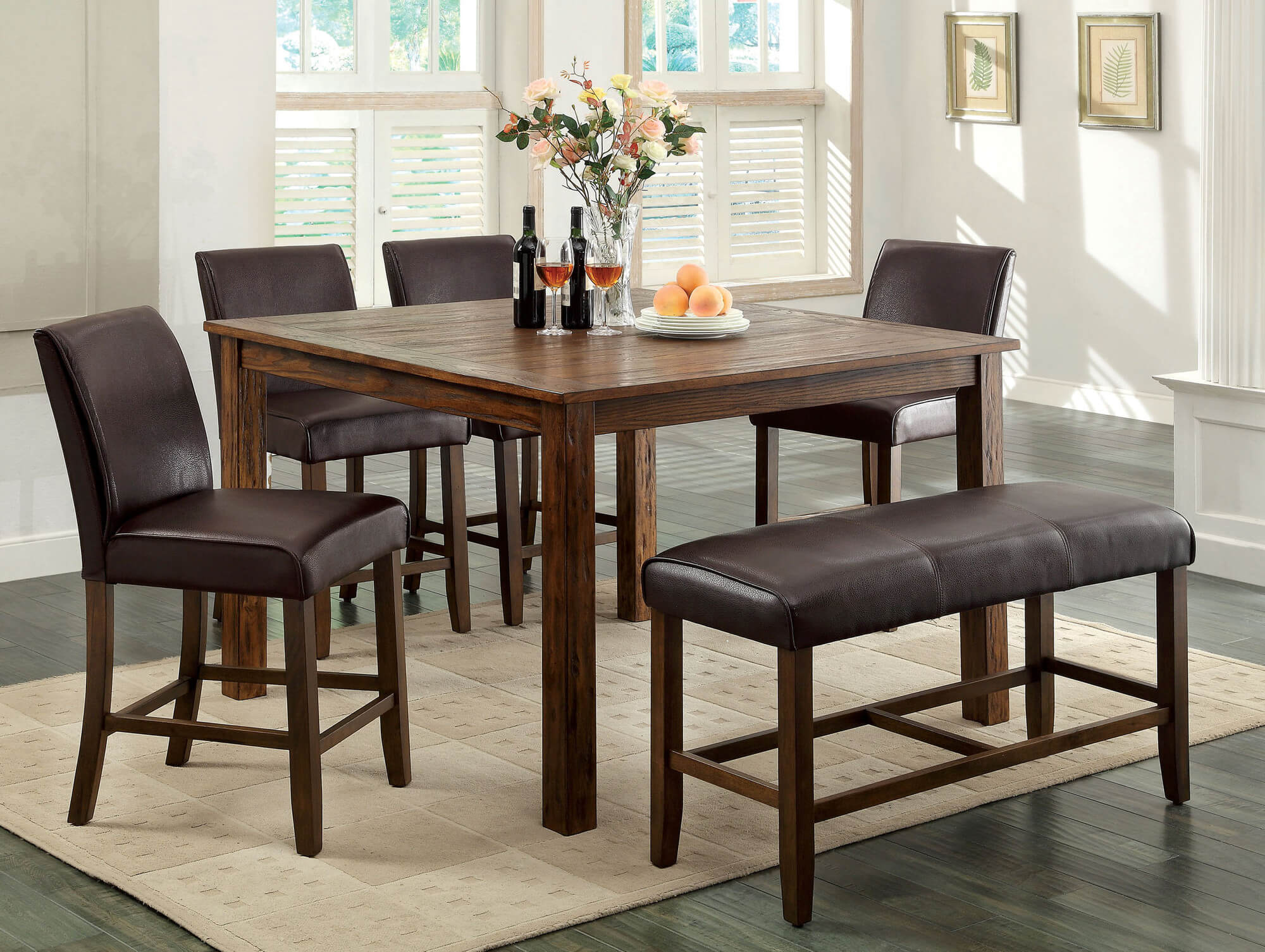 dining set with bench and chairs indoor bistro table 26 room sets big small seating 2019 counter height rustic wood is dark oak finish constructed