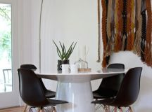 """Contemporary design can appear in a wide variety of looks, so long as they meaningfully present an """"of the now,"""" up to date appearance. Contemporary tables can be found in every type of material and every shape configuration. Our example features an all white circular construction from the base up to the tabletop."""