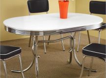The oval design is a popular choice, allowing for the sensuous curves of a round table, but with a lengthier surface area providing more space for diners.