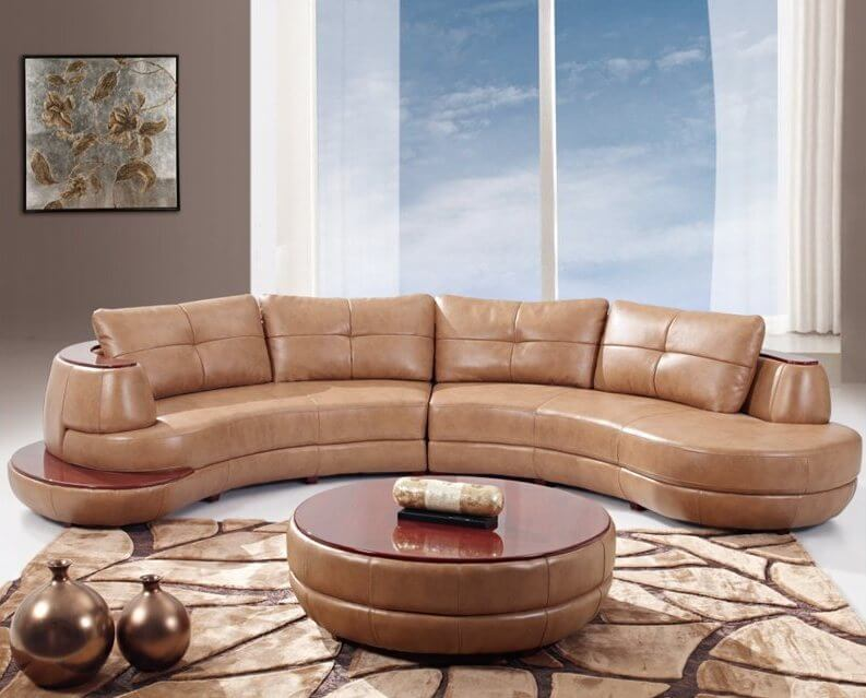 Round Leather Ottoman Coffee Table