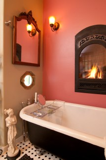 Bathroom Wall with Fireplace