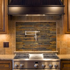 Kitchen Back Splashes Zephyr Hurricane Ak2500 Hood 75 Backsplash Ideas For 2019 Tile Glass Metal Etc A Beautiful In Shades Of Brown With Stone And An Inset Center Focal