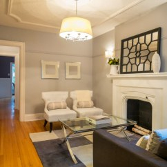 Pictures Of Small Living Rooms With Fireplaces How To Set Up Your Room 41 Amazing Ideas 2019 Photos A In Dove Gray Chair Railing Running About Three Quarters