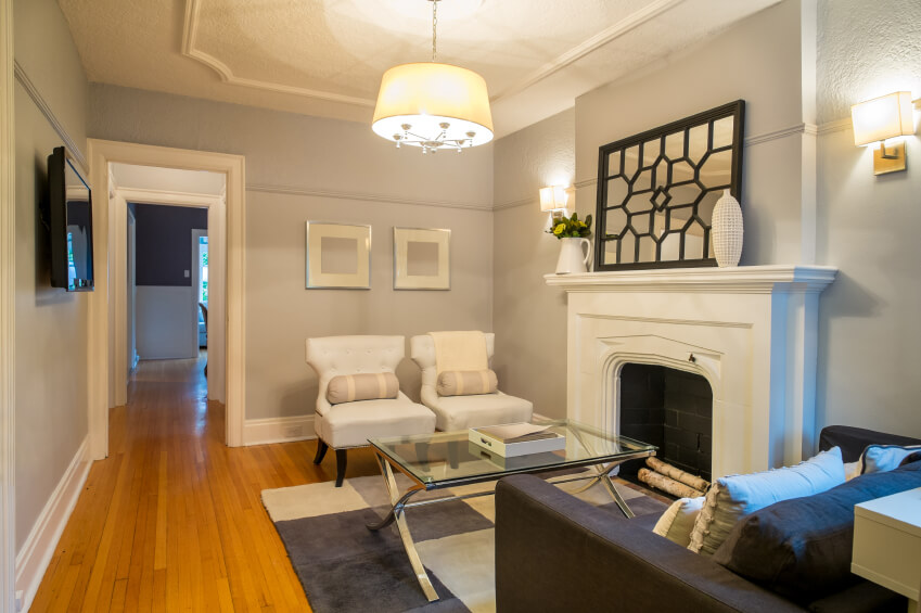 how to arrange furniture in small living room with fireplace affordable chairs for 41 amazing ideas 2019 photos a dove gray chair railing running about three quarters up