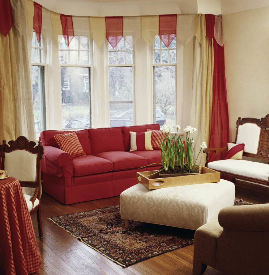 red and cream curtains for living room furniture orange county 53 rooms with drapes eclectic variety the festive light valance adds a whimsical air to this otherwise simple