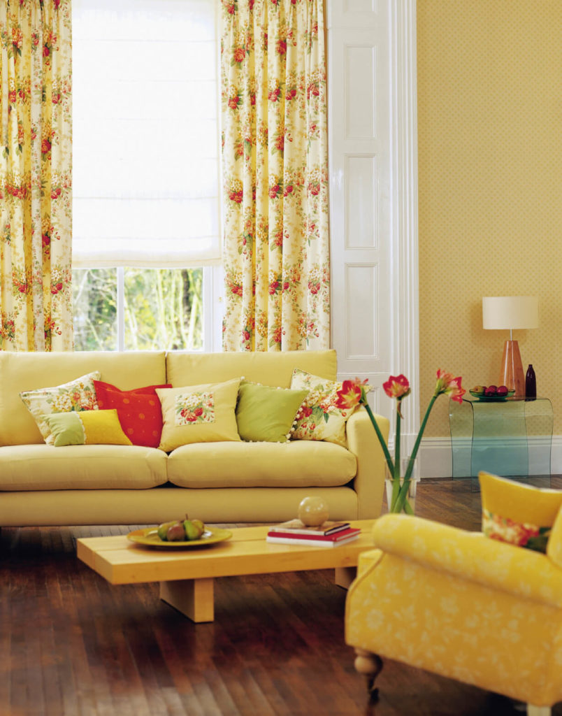 curtains for yellow living room country chic rooms 53 with and drapes eclectic variety when added to the already sunny these strawberry motif add a