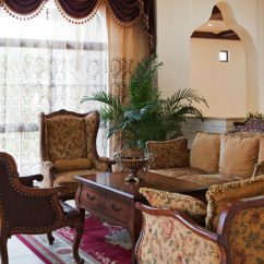Patterned Curtains For Living Room French Country Rooms Ideas 53 With And Drapes Eclectic Variety In Another Traditional The Windows Are Covered By A Sheer
