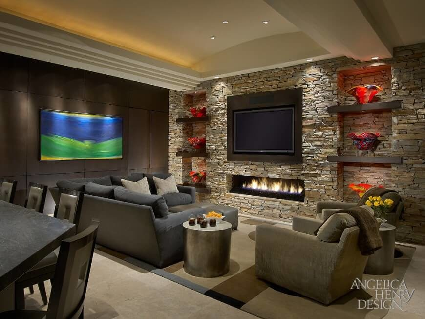 pictures of living rooms with stone fireplaces corner sofa designs for small room 25 incredible fireplace ideas this beautiful contemporary has an entire wall a gas burning