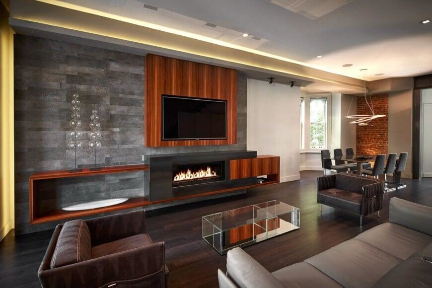 living room accents small with sectional 21 gorgeous rooms accent walls of all styles pictures this highly modernized features sleek leather chairs and a sofa along wooden