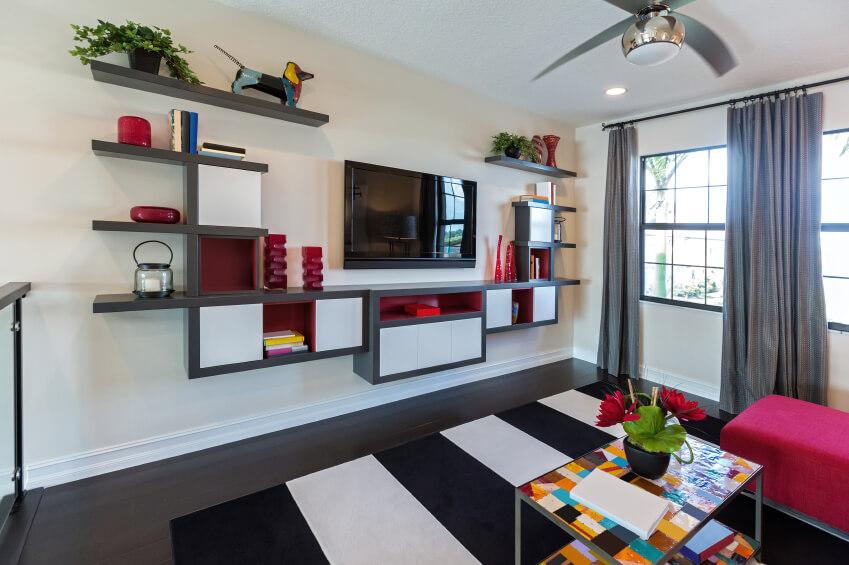Living Room Shelves Fireplace