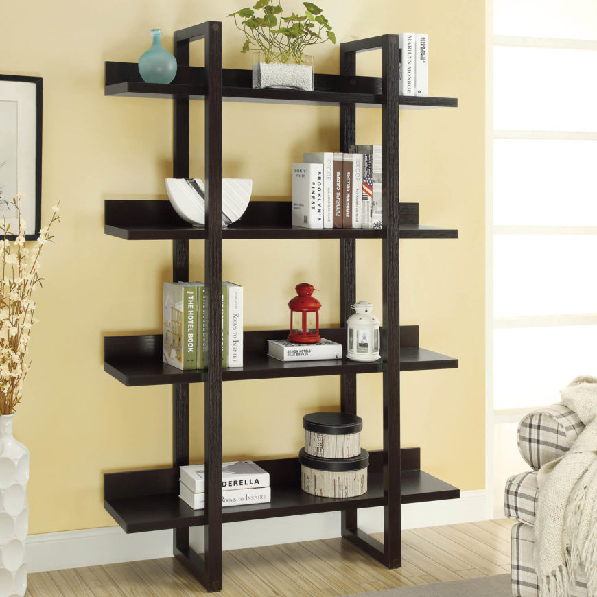 shelving for living room walls dark green couch 27 beautiful shelves home stratosphere this free standing bookshelf is sleek and simple can fit in almost any