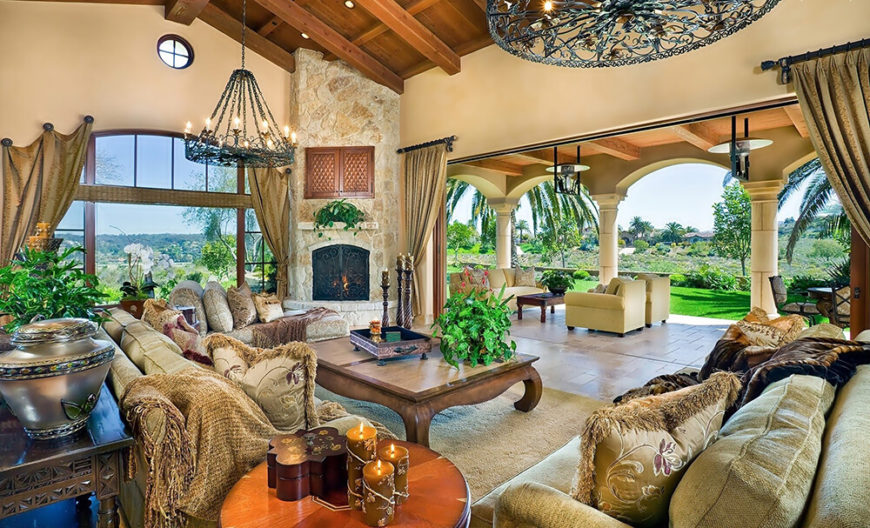 This room is adorned with a number of soft and comfortable English style sofas that are both stylish and welcoming. The plush cushions and soft-to-the-touch material make these sofas the type of seating you can really disappear into.