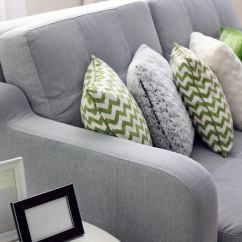 Green Cushions Living Room Virtual Designer Free 35 Sofa Throw Pillow Examples Decor Guide Home Stratosphere Grey With White And Pillows In An Overlapping Domino Formation