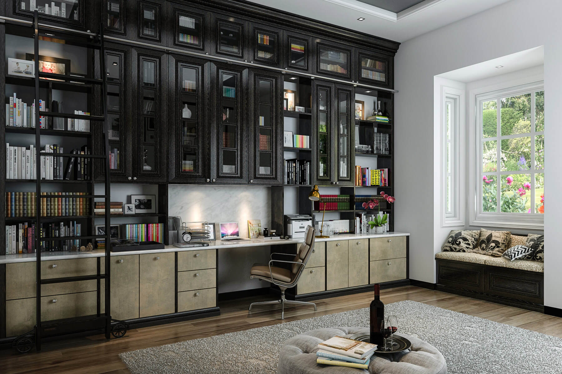 Home Office with Custom Built-In Bookshelves Spanning Entire Wall