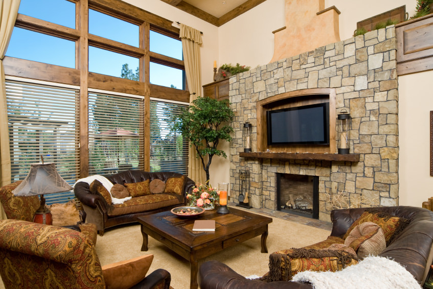 living room fireplace off centered how to decorate with dark chocolate leather sofas 18 types of styles pictures examples for 2019 an awe inspiring design featuring heavy and colors wooden center table sofa
