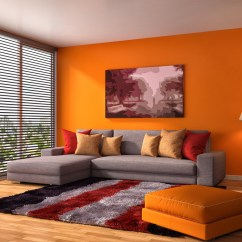 Brown And Orange Living Room Wall Colors With Leather Furniture 25 Ideas For Currentyear The Slick Sofa Stool Stand Out Boldly In This Area A