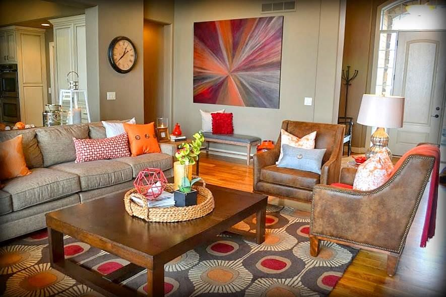 orange couch living room ideas murphy bed design 25 for currentyear a variety of touches and shades are found in here artsy