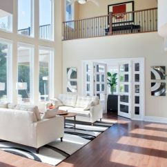 White Sofa Living Room Decor Best Design For 72 Rooms With Furniture Sofas And Chairs The Coffered Semi Cathedral Ceiling Is Beautiful As It Connects From A Second Floor