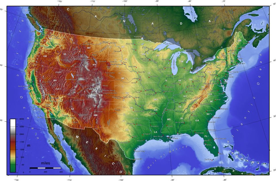 The map legend often also has a scale to help the map reader gauge dista. Ppt Elevation Map Of United States Powerpoint Presentation Free To Download Id 4b12dc Mjq1y