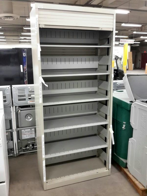 iBid Lot  7688  Wright Line Roll Up Door Storage Cabinet