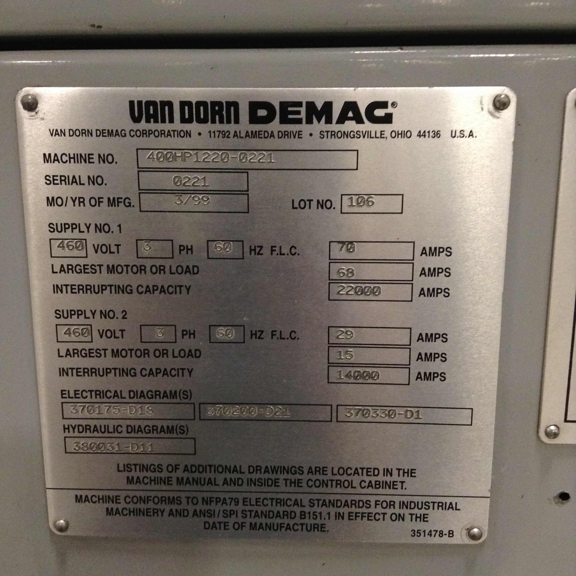 hight resolution of van dorn demag 400 ton injection molding machine 400hp1220 used van dorn bottle van dorn wiring diagram