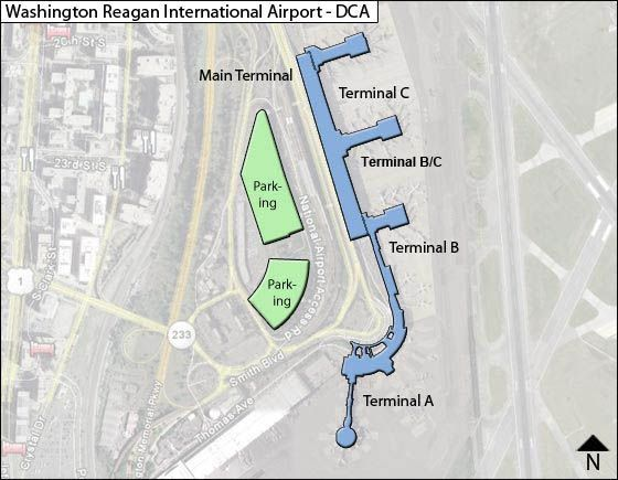 Reagan National DCA Airport Terminal Map