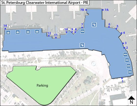 St Petersburg Clearwater PIE Airport Terminal Map