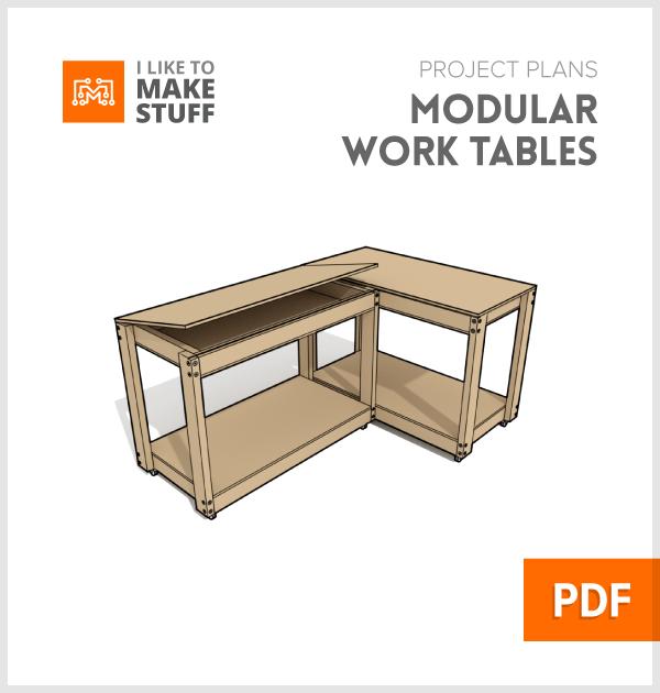 Modular work tables digital plan i like to make stuff for Table design mobile