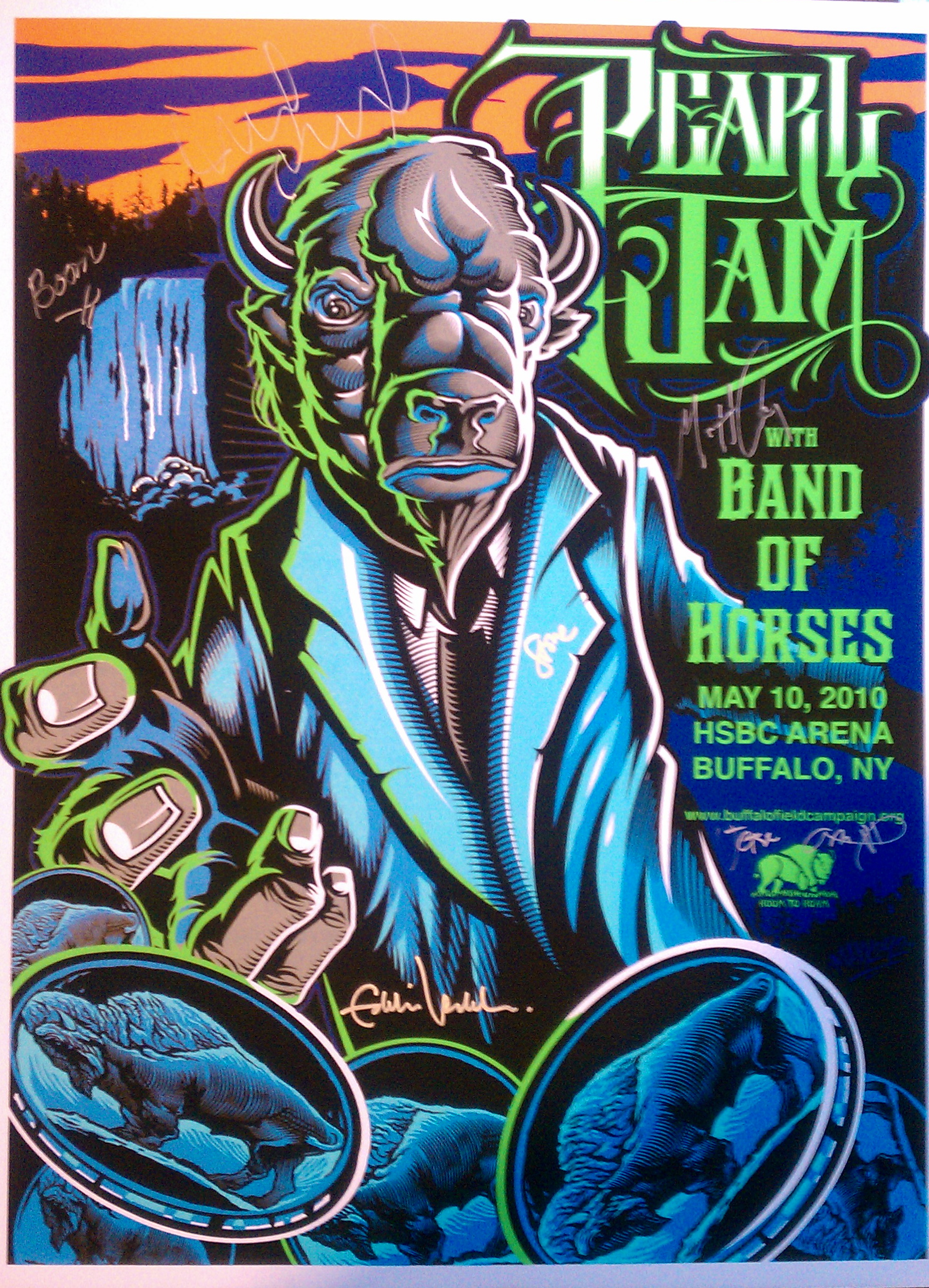 an autographed poster from pearl jam s