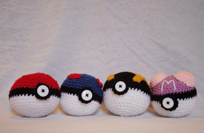 Crocheted Pokeball, or Set of 4 Pokeballs 00000
