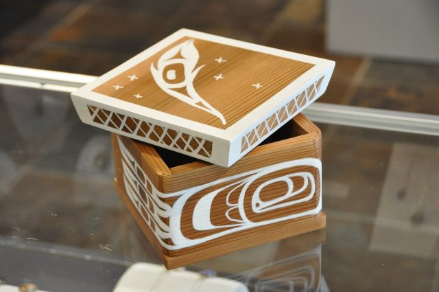 "Bentwood Box, ""White Raven"" by Peter Gong SPECIAL ONLINE PRICE"