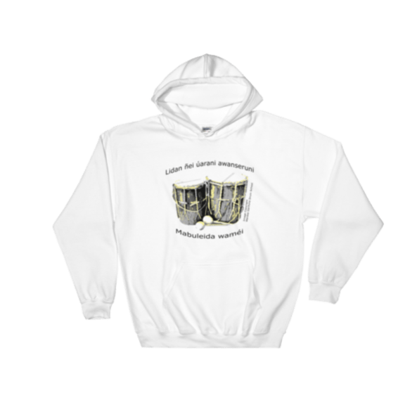 White Hoodie with drums and 19th Nov 2017 theme