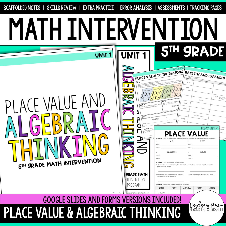 5th Grade Intervention Place Value Amp Algebraic Thinking