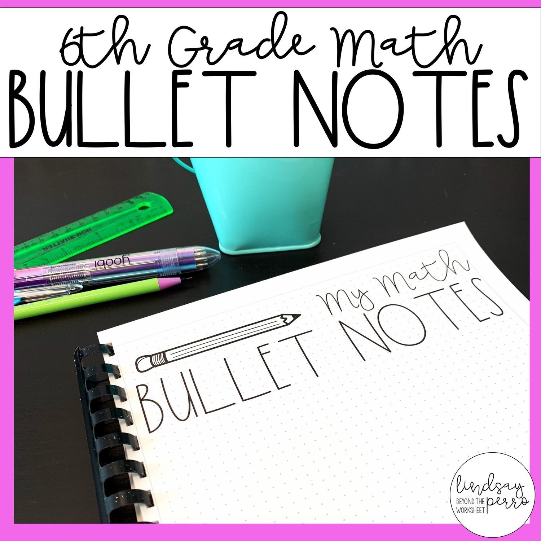 6th Grade Math Bullet Notes Store