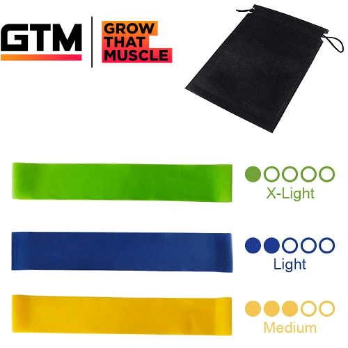 Set of 3 Resistance Bands Latex Gym Strength Training Extra Light, Light, Medium 1001